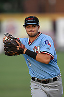 Second baseman Kole Enright (22) of the Hickory Crawdads warms up before a game against the Greenville Drive on Monday, August 20, 2018, at Fluor Field at the West End in Greenville, South Carolina. Hickory won, 11-2. (Tom Priddy/Four Seam Images)