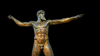 Early classical ancient Greek bronze statue of Zeus or Poseidon, circa 450 BC. Athens National Arcjaeological Museum, cat no X15161. Black background<br /> <br /> This bronze statue was found in the sea off Cape Artemision in northern Euobea. Zeus or Poseidon is shown making a great stride. His lefy arm is extended forward and his righy arm extends back which would have held a thunderbolt, if Zeus, or a trident if Poseidon. The identification of the statue is controversial though it ios more likely Zeus. <br /> <br /> It is one of the few preserved original statues of Severe Style, notable for the exuisite rendering of motion and anatomy. Iy is certainly the work of a great sculptor of the early ancient Greek Classical period