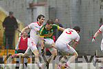 Stephen O'Brien, Kerry in action against Jason Kelly Tyrone in the fourth round of the National Football league at Fitzgerald Stadium, Killarney on Sunday.