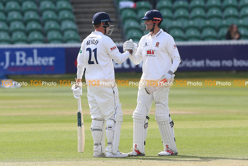 Tom Westley (L) of Essex congratulates Alastair Cook on reaching his century during Somerset CCC vs Essex CCC, Specsavers County Championship Division 1 Cricket at The Cooper Associates County Ground on 16th April 2017