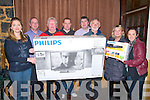 Presentation : Pictured at the presentation of a Televisio & DVD player to the North Kerry Day Care Centre committee at the Harp & Lion Bar, Listowel on Thursday night last were Raelleen Bell, John Hannon, Finbarr Mawe, Damian Ryan, Christy Walsh, Michael Moriarity, Isobel McDonagh & Lesley Flannery..The TV and DVD player were purchased from the proceeds of a match between the local Gardaí and the local vintners in Listowel. McKenna's Hardware came on board and supplied these items at cost. This equipment will be used in the North Kerry Day Care Centre which provides a service for the elderly in the Respond building in Baile Ó Dubhda off the John B Keane Rd. The committee are very grateful to the Gardaí and the vintners for their efforts and their generosity