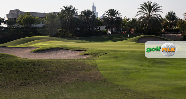16th green at The Address Montgomerie Golf Club, Dubai, United Arab Emirates.  27/01/2016. Picture: Golffile | David Lloyd<br /> <br /> All photos usage must carry mandatory copyright credit (&copy; Golffile | David Lloyd)