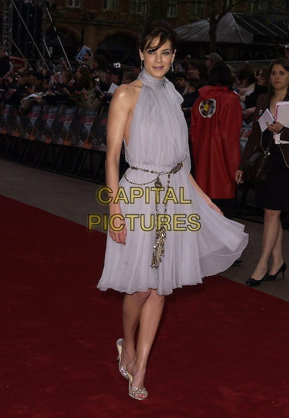 "MICHELLE MONAGHAN.""Mission Impossible 3"" UK Film Premiere - Arrivals, Odeon Leicester Square, London, UK. .April 25th 2006.Ref: CAN.full length grey blue dress belt.www.capitalpictures.com.sales@capitalpictures.com.©Capital Pictures"