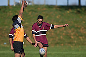 Tamati Bennet attempts to clear from near his own line  as Texas Konaki applies pressure. CMRFU Counties Power Cup Game of the Week between Te Kauwhata & Puni played at Te Kauwhata on Saturday May the 3rd, 2008..Te Kauwhata led 5 - 0 at halftime & went on to win 29 - 0.