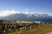 The town of Vevay overlooking wine groves,Lake Léman and the mountains.Vevay close to Montreux, Luasanne, Switzerland.