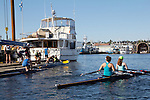 Rowing, Seattle, Seattle Rowing Center, rowing dock, rowing schools, middle school, high school rowers in racing shells, rowers, workout, Lake Union,