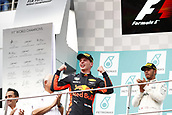 1st October 2017, Sepang, Malaysia;  FIA Formula One World Championship, Grand Prix of Malaysia, 33 Max Verstappen (NLD, Red Bull Racing), Sepang Malaysia celebrates on the podium