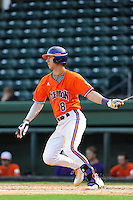 Infielder Weston Wilson (8) of the Clemson Tigers in a fall Orange & Purple intrasquad scrimmage on November 2, 2013, at Fluor Field at the West End in Greenville, South Carolina. Orange won 7-1.(Tom Priddy/Four Seam Images)