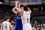 Real Madrid's Felipe Reyes and Anadolu Efes's Thomas Heurtel during Turkish Airlines Euroleague match between Real Madrid and Anadolu Efes at Wizink Center in Madrid, April 07, 2017. Spain.<br /> (ALTERPHOTOS/BorjaB.Hojas)
