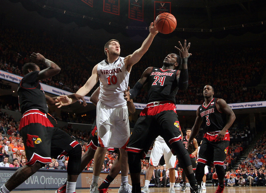Virginia forward/center Mike Tobey (10) during the game Saturday Feb. 7, 2015, in Charlottesville, Va. Virginia defeated Louisville  52-47. (Photo/Andrew Shurtleff)