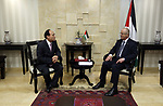 Palestinian Prime Minister Rami Hamdallah meets with ITU Secretary-General Houlin Joa, at his office in the West Bank city of Ramallah on March 5, 2018. Photo by Prime Minister Office