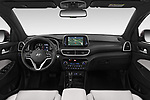 Stock photo of straight dashboard view of a 2019 Hyundai Tucson Shine 5 Door SUV
