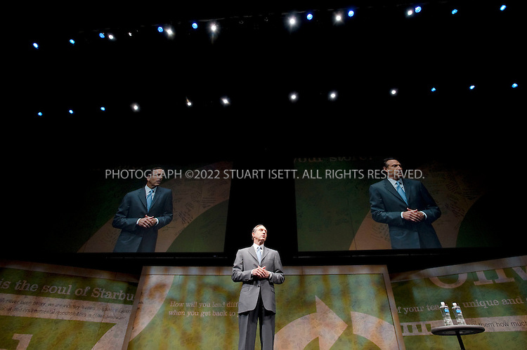 3/18/2009--Seattle, WA, USA..Howard Schultz,  Chairman and CEO of Starbucks, speaking to shareholders at the 2009 shareholders meeting in Seattle, Washington...©2009 Stuart Isett. All rights reserved.