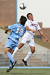 06 September 2009: Evansville's Richard Menjivar (9) and UNC's Michael Farfan (19). The University of North Carolina Tar Heels defeated the Evansville University Purple Aces 4-0 at Fetzer Field in Chapel Hill, North Carolina in an NCAA Division I Men's college soccer game.