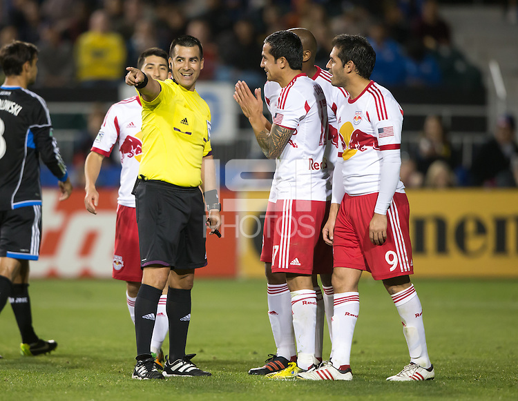 March 10th, 2013: Tim Cahill and Fabian Espindola pleads Ricardo Salazar not to allow Chris Wondolowski to retry penalty kick at Buck Shaw Stadium, Santa Clara, Ca.   Earthquakes defeated Red Bulls 2-1