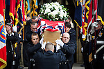 © Joel Goodman - 07973 332324 . 02/09/2013 . Bury , UK . Stephen Hunt's coffin is carried from the church after the service . The funeral of fireman Stephen Hunt at Bury Parish Church today (Tuesday 3rd September 2013) . Stephen Hunt died whilst tackling a blaze at Paul's Hair World in Manchester City Centre in July 2013 . Photo credit : Joel Goodman