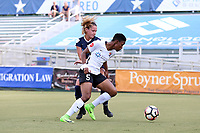 Cary, North Carolina  - Saturday July 01, 2017: Maya Hayes and Meredith Speck during a regular season National Women's Soccer League (NWSL) match between the North Carolina Courage and the Sky Blue FC at Sahlen's Stadium at WakeMed Soccer Park. Sky Blue FC won the game 1-0.