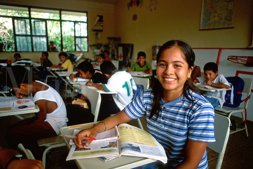 School girl age 13 in class in Puerto Vallarta , Mexico