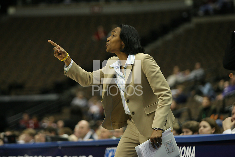 20 March 2006: Assistant coach Charmin Smith during Stanford's 88-70 win over Florida State in the second round of the NCAA Women's Basketball championships at the Pepsi Center in Denver, CO.