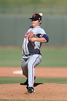 Scottsdale Scorpions pitcher John Cornely (39), of the Atlanta Braves organization, during an Arizona Fall League game against the Surprise Saguaros on October 17, 2013 at Surprise Stadium in Surprise, Arizona.  Surprise defeated Scottsdale 10-5.  (Mike Janes/Four Seam Images)
