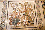 Roman mosaic Polyphemus and Galatea, archaeological display inside the Alcazar palace, Cordoba, Spain
