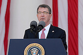 United States Secretary of Defense Ash Carter speaks at a Memorial Day event at Arlington National Cemetery, May 25, 2015 in Arlington, Virginia. <br /> Credit: Olivier Douliery / Pool via CNP