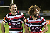 Stephen Donald and Orbyn Leger. Mitre 10 Cup rugby game between Counties Manukau Steelers and Auckland played at ECOLight Stadium, Pukekohe on Saturday August 19th 2017. Counties Manukau Stelers won the game 16 - 14 and retain the Dan Bryant Memorial trophy.<br /> Photo by Richard Spranger.