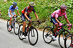 New race leader Nairo Quintana (COL) Movistar Team Maglia Rosa, Vincenzo Nibali (ITA) Bahrain-Merida and Thibaut Pinot (FRA) FDJ during Stage 20 of the 100th edition of the Giro d'Italia 2017, running 190km from Pordenone to Asiago, Italy. 27th May 2017.<br /> Picture: LaPresse/Fabio Ferrari | Cyclefile<br /> <br /> <br /> All photos usage must carry mandatory copyright credit (&copy; Cyclefile | LaPresse/Fabio Ferrari)