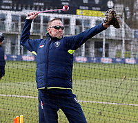 Allan Donald takes a training session for Kent during the friendly game between Kent CCC and Surrey at the St Lawrence Ground, Canterbury, on Friday Apr 6, 2018