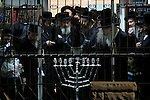 Israel, Bnei Brak, Rabbi Vossner celebrates Hanukkah with his followers