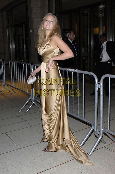 "LEELEE SOBIESKI.The Film Society of Lincoln Center and Fox Searchlight Pictures present ""The Darjeeling Limited"" on opening night of the New York Film Festival at Avery Fisher Hall, New York, New York, USA..September 28th, 2007.full length gold satin dress hand clutch purse bag .CAP/ADM/BL.©Bill Lyons/AdMedia/Capital Pictures. *** Local Caption ***"