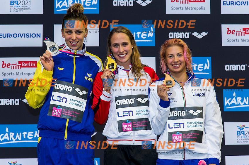 JOHANSSON Jennie SWE Silver Medal (L)<br /> PEDERSEN Rikke Moeller DEN Gold Medal<br /> CASTIGLIONI Arianna ITA Bronze Medal<br /> 100m Breaststroke Women Final<br /> 32nd LEN European Championships <br /> Berlin, Germany 2014  Aug.13 th - Aug. 24 th<br /> Day08 - Aug. 20<br /> Photo G. Scala/Deepbluemedia/Inside