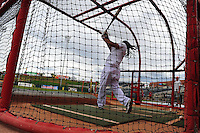 Jun. 23, 2009; Albuquerque, NM, USA; Albuquerque Isotopes outfielder Manny Ramirez takes batting practice prior to the game against the Nashville Sounds at Isotopes Stadium. Ramirez is playing in the minor leagues while suspended for violating major league baseballs drug policy. Mandatory Credit: Mark J. Rebilas-