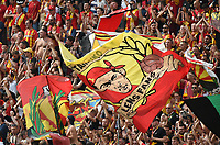 20190803 - LENS , FRANCE : fans of RC Lens pictured during the soccer match between Racing Club de LENS and En Avant Guingamp , on the second matchday in the French Dominos pizza Ligue 2 at the Stade Bollaert Delelis stadium , Lens . Saturday 3 th August 2019 . PHOTO DIRK VUYLSTEKE | SPORTPIX.BE
