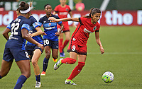 Portland, OR - Saturday July 09, 2016: Nadia Nadim during a regular season National Women's Soccer League (NWSL) match between the Portland Thorns FC and FC Kansas City at Providence Park.