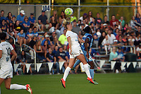 Kansas City, MO - Saturday May 28, 2016: FC Kansas City defender Katie Bowen (21) and Orlando Pride midfielder Jasmyne Spencer (23) go for the ball during a regular season National Women's Soccer League (NWSL) match at Swope Soccer Village.