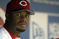 03 April 2006: Cincinnati Red's Ken Griffey Jr. looks on from the dugout as they play against the Chicago Cubs during the Reds' home opener at Great American Ballpark in Cincinnati, Ohio.<br />
