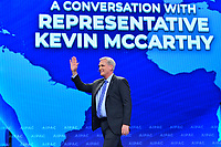 Washington, DC - March 25, 2019: U.S. Representative Kevin McCarthy, House Republican  Leader, greets the audience before speaking at the 2019 AIPAC Policy Conference held at the Washington Convention Center, March 25, 2019.  (Photo by Don Baxter/Media Images International)