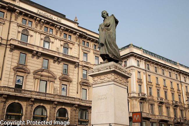 Parini Statue in Dante Street with Cordusio Square in Milan; Italy