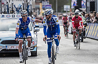 Iljo Keisse (BEL/Quick-Step floors) embraces Tom Boonen (BEL/Quick-Step Floors) crossing the finish line in his last ever (farewell) race on Belgian soil<br /> <br /> 105th Scheldeprijs 2017 (1.HC)<br /> 1 Day Race: Mol &rsaquo; Schoten (BEL/202km)