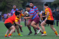 Action from the 2019 Wellington Johnsonville Centennium Cup first grade rugby final between Avalon Knights and Stokes Valley Chiefs at Petone Rec in Wellington, New Zealand on Saturday, 27 July 2019. Photo: Dave Lintott / lintottphoto.co.nz