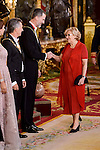 Queen Letizia, Juliana Awada, President of Argentine Republic, Mauricio Macri, King Felipe VI of Spain and Madrid Mayor Manuela Carmena  during the gala dinner given to the President of the Argentine Republic, Sr. Mauricio Macri and Sra Juliana Awada at Real Palace in Madrid, Spain. February 19, 2017. (ALTERPHOTOS/BorjaB.Hojas)