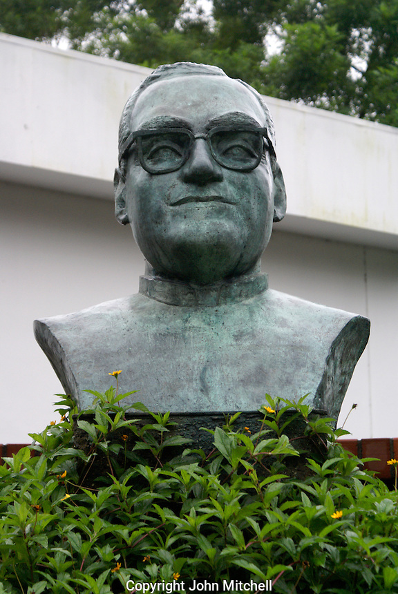 Bust of Archbishop Oscar Romero next to the Centro Monsegnor Romero at the Universidad Centroamericana or UCA in San Salvador, El Salvador