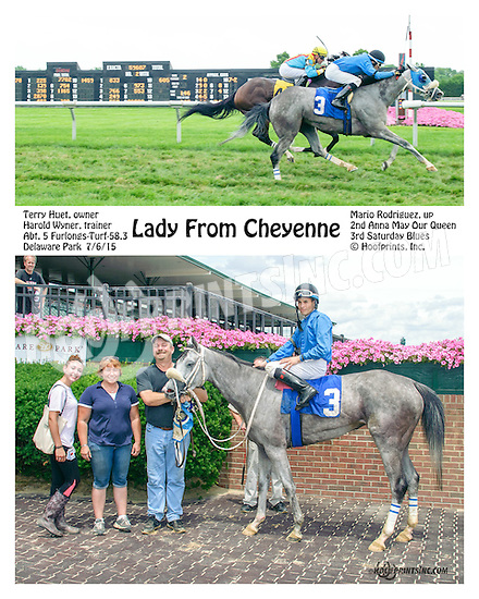 Lady from Cheyenne winning at Delaware Park on 7/6/15