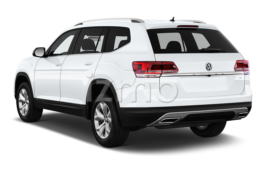 Car pictures of rear three quarter view of a 2018 Volkswagen Atlas S 5 Door SUV angular rear