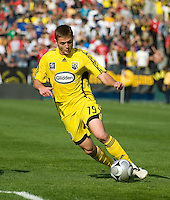 Robbie Rogers dribbles during MLS Cup 2008. Columbus Crew defeated the New York Red Bulls, 3-1, Sunday, November 23, 2008. Photo by John Todd/isiphotos.com