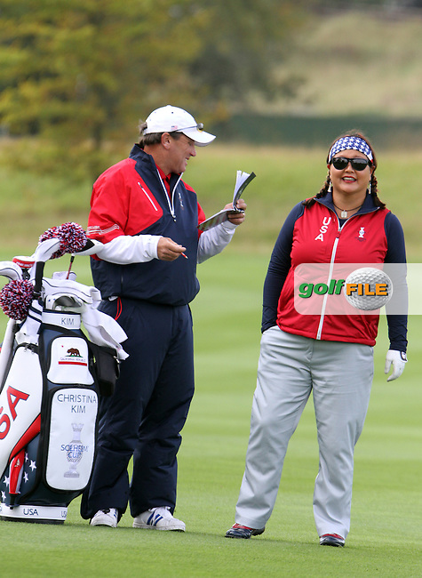 Christina Kim (USA) on Thursday, the third practice day at the 2011 Solheim Cup at Killeen Castle, Co. Meath, Ireland...Photo Golffile/Jenny Matthews.(Photo credit should read Jenny Matthews www.golffile.ie)....This Picture has been sent you under the conditions enclosed by:.Newsfile Ltd..The Studio,.Millmount Abbey,.Drogheda,.Co Meath..Ireland..Tel: +353(0)41-9871240.Fax: +353(0)41-9871260.GSM: +353(0)86-2500958.email: pictures@newsfile.ie.www.newsfile.ie.
