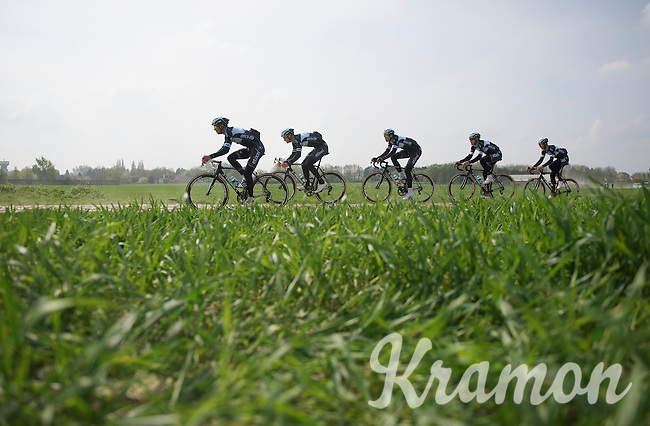 The strongest outfit out there: Team OmegaPharma-QuickStep doing the recon.<br /> Zdenek Stybar (CZE/OPQS), Tom Boonen (BEL/OPQS), Niki Terpstra (NLD/OPQS), Matteo Trentin (ITA/OPQS) & Guillaume Van Keirsbulck (BEL/OPQS)<br /> <br /> 2014 Paris-Roubaix reconnaissance