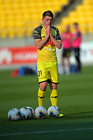 Phoenix's Callum McCowatt warms up for the A-League football match between Wellington Phoenix and Brisbane Roar at Westpac Stadium in Wellington, New Zealand on Saturday, 23 November 2019. Photo: Dave Lintott / lintottphoto.co.nz