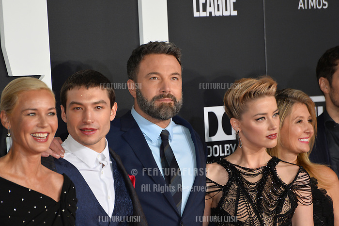 Connie Nielsen, Ezra Miller, Ben Affleck &amp; Amber Heard at the world premiere for &quot;Justice League&quot; at The Dolby Theatre, Hollywood. Los Angeles, USA 13 November  2017<br /> Picture: Paul Smith/Featureflash/SilverHub 0208 004 5359 sales@silverhubmedia.com